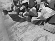 Broken concrete wall fragments. Abstract industrial background. 3d render illustration Royalty Free Stock Photos