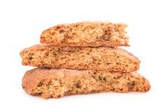 Broken cookies on white background Stock Photo
