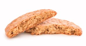 Broken cookies on white background Royalty Free Stock Photo