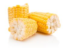 Broken corn on cobs kernels peeled  on white background. Broken corn on cobs kernels peeled  on a white background royalty free stock photos