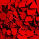 Broken cracked destruction red wall surface background. 3d render illustration royalty free illustration