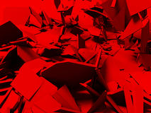 Broken cracked destruction red wall surface background. 3d render illustration Stock Image