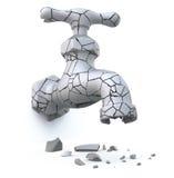 Broken cracked faucet Stock Image
