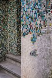 Broken cracked mosaic colorful tile wall texture. Corner in Istanul royalty free stock photo