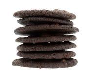 Broken crispy chocolate chip brownie cookies stack Stock Images