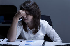Broken and crying businesswoman royalty free stock photography