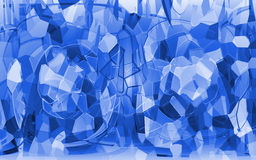 The broken Crystal. The broken pieces of Crystal, blue Stock Photography