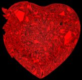Broken crystal Heart: disease or pain. Broken crystal Heart: unrequited love, death, disease or pain. Isolated on black Royalty Free Stock Images