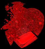 Broken crystal Heart: unrequited love. Death, disease or pain. Isolated on black Stock Photos