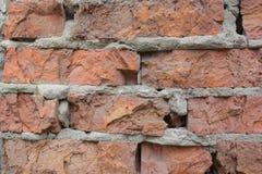Broken currupted bricks wall texture background macro Stock Photos
