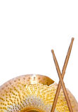 Broken Cymbals and Drumsticks Royalty Free Stock Image