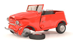 The broken 3d car. The vehicle costs on the road after accident Stock Image
