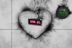Broken 3D white heart with black smoke coming from it. Word love written in pink and green button with cardiac flat line in corner Stock Photo