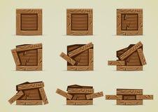 Broken dark brown crates collections. Set of nine broken dark brown crates Stock Photo
