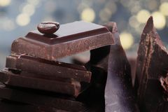 Broken dark chocolate royalty free stock image