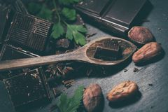 Broken dark chocolate and coffee beans stock images