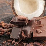 Broken dark chocolate stock images