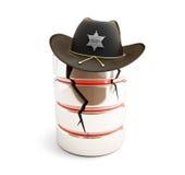 Broken database, sheriff hat. On a white background Stock Photos