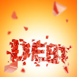 Broken debt abstract composition background. Made of crashed into pieces word Royalty Free Stock Images