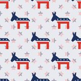 Broken democrat donkeys seamless pattern on. Broken democrat donkeys seamless pattern on american stars background. USA presidential elections patriotic Royalty Free Stock Photos
