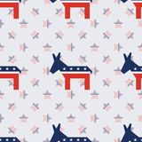 Broken democrat donkeys seamless pattern on. Broken democrat donkeys seamless pattern on american stars background. USA presidential elections patriotic Royalty Free Stock Photography