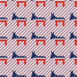 Broken democrat donkeys seamless pattern on red. Broken democrat donkeys seamless pattern on red and blue stripes background. USA presidential elections Stock Photo