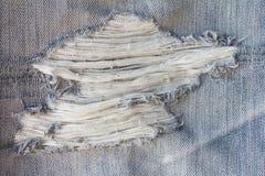 Broken denim fabric. Royalty Free Stock Images