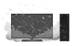 Broken desktop personal computer and monitor Royalty Free Stock Photo