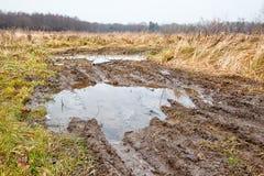 Broken dirt road in the field Stock Image