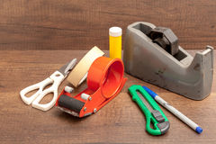 Broken and Dirty Stationary on wooden background Royalty Free Stock Photos