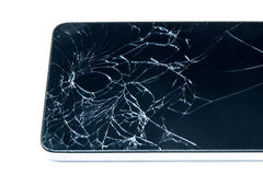 Broken display screen of smartphone on white background. Isolated Royalty Free Stock Photos