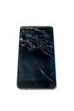 Broken display screen of smartphone on white background. Isolated Royalty Free Stock Photography
