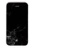 Broken display smartphone isolated on white background stock image