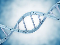 Broken DNA on blue background Royalty Free Stock Images