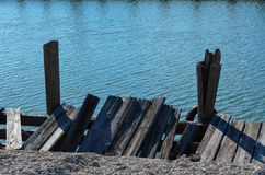 Broken Dock. Dock in need of repairing royalty free stock image