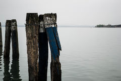 Broken docks on the lake Royalty Free Stock Photo