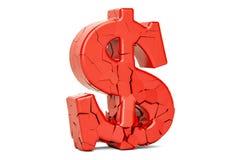 Broken Dollar Symbol, 3D rendering. Isolated on white background Stock Image