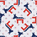 Broken donkeys seamless pattern on american stars. Broken donkeys seamless pattern on american stars background. USA presidential elections patriotic wallpaper Royalty Free Stock Image