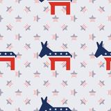 Broken donkeys seamless pattern on american stars. Broken donkeys seamless pattern on american stars background. USA presidential elections patriotic wallpaper Royalty Free Stock Photo