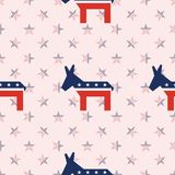 Broken donkeys seamless pattern on national stars. Broken donkeys seamless pattern on national stars background. USA presidential elections patriotic wallpaper Royalty Free Stock Image
