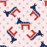 Broken donkeys seamless pattern on national stars. Broken donkeys seamless pattern on national stars background. USA presidential elections patriotic wallpaper Stock Photography