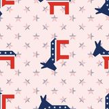 Broken donkeys seamless pattern on national stars. Broken donkeys seamless pattern on national stars background. USA presidential elections patriotic wallpaper Stock Photos