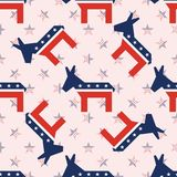 Broken donkeys seamless pattern on national stars. Broken donkeys seamless pattern on national stars background. USA presidential elections patriotic wallpaper Royalty Free Stock Photos