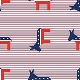 Broken donkeys seamless pattern on red and blue. Broken donkeys seamless pattern on red and blue diagonal stripes background. USA presidential elections Royalty Free Stock Image