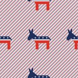 Broken donkeys seamless pattern on red and blue. Broken donkeys seamless pattern on red and blue stripes background. USA presidential elections patriotic Royalty Free Stock Image