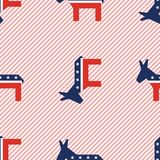Broken donkeys seamless pattern on red stripes. Broken donkeys seamless pattern on red stripes background. USA presidential elections patriotic wallpaper Stock Images