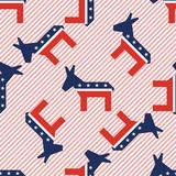 Broken donkeys seamless pattern on red stripes. Broken donkeys seamless pattern on red stripes background. USA presidential elections patriotic wallpaper. Grid Stock Photography