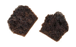 Broken double chocolate muffin on a white background Stock Image