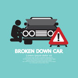 Broken Down Car Symbol. Vector Illustration Stock Photography