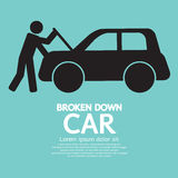 Broken Down Car. Vector Illustration Stock Photos